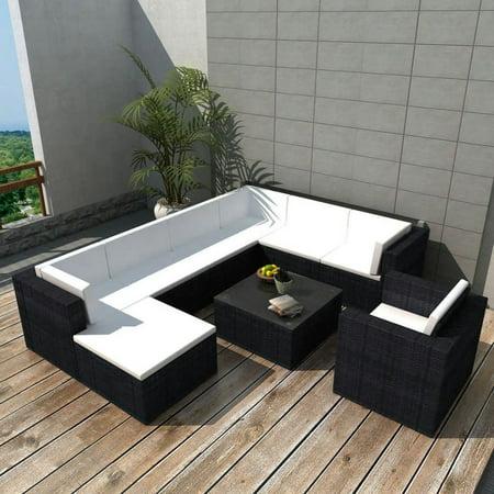 Vidaxl Garden Lounge Set 27 Pieces Poly Rattan Black Walmartcom