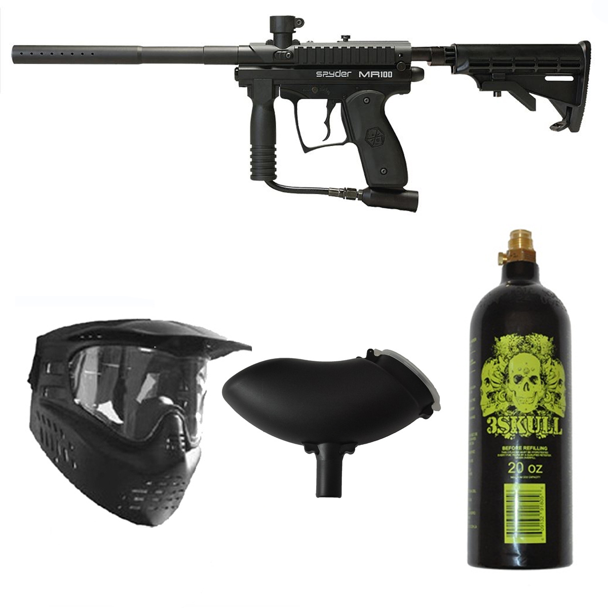 Spyder MR1 Paintball Marker Gun 3Skull Package Black by