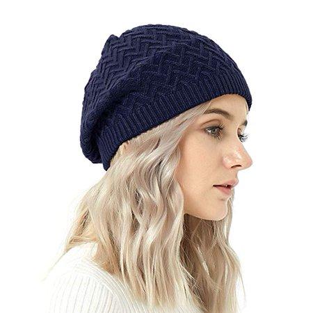 Merino Wool Beret Hat - Women Knitted Braided Crochet Chic French Beanie by IKEPOD