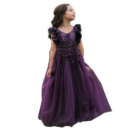 9a53040f0 Little Girls Dark Purple Petal Sleeve Lace Floor Length Flower Girl ...