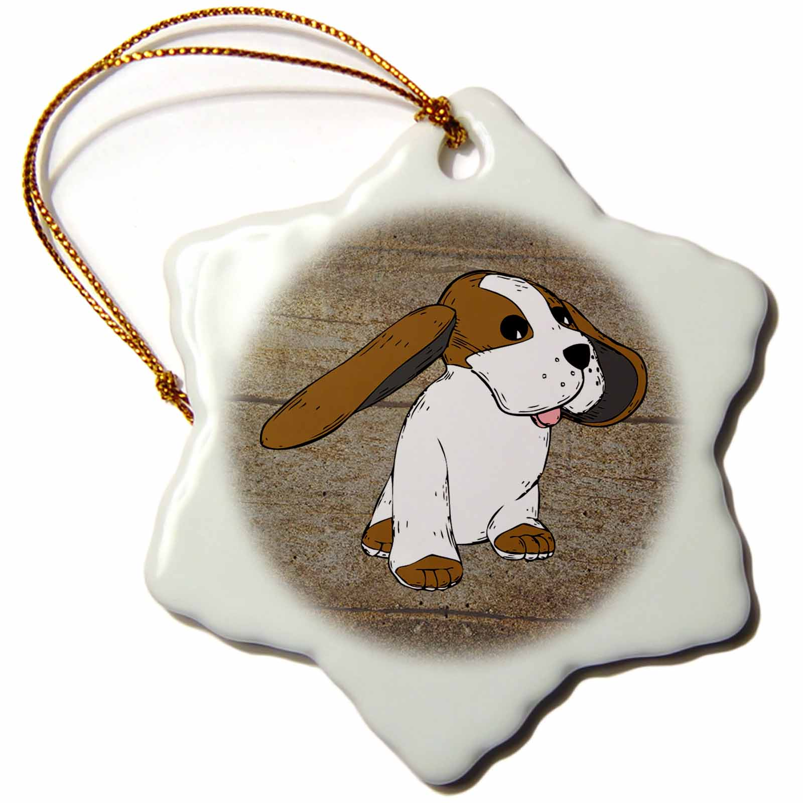 3dRose Image of Cartoon Beagle Dog On Wood, Snowflake Ornament, Porcelain, 3-inch