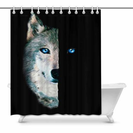 POP Wolf Printanimal Art Bathroom Decor Shower Curtain Set 60x72 inch - image 1 of 1