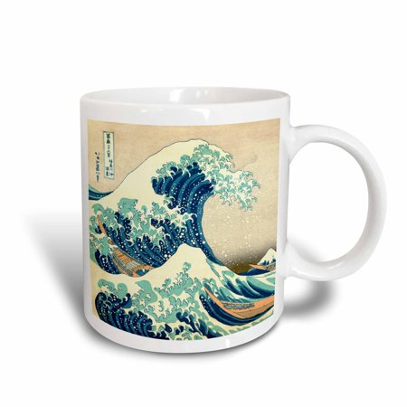 (3dRose The Great Wave off Kanagawa by Japanese artist Hokusai - dramatic blue sea ocean Ukiyo-e print 1830, Ceramic Mug, 11-ounce)