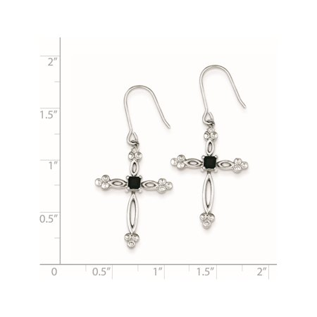 925 Sterling Silver Diamond Accent CZ Cross (20x41mm) Earrings - image 1 of 2