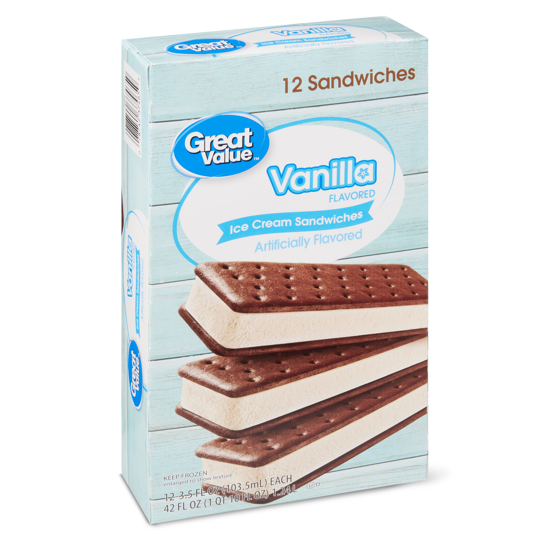 Great Value Vanilla Flavored Ice Cream Sandwiches, 42 oz, 12 Count -  Walmart.com - Walmart.com