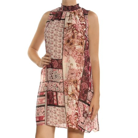 ECI Womens Pink Printed Sleeveless Turtle Neck Above The Knee Shift Dress  Size: M