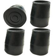 PCP Replacement Walker or Commode Tips, Black, 1-inch Diameter