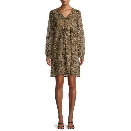 Time and Tru Women's Long Sleeve Peasant Dress