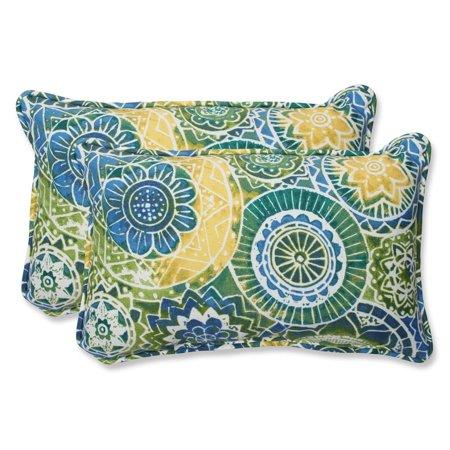 Set of 2 Laguna Mosaico Blue, Green and Yellow Outdoor Corded Throw Pillows 18.5