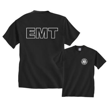 EMT Badge Emergency Medical Technician White Logo F&B T-Shirt