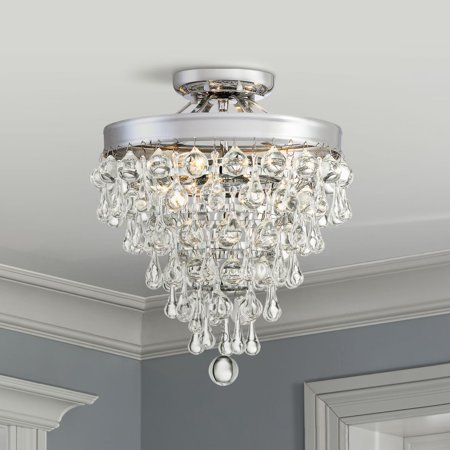 Vienna Full Spectrum Modern Ceiling Light Semi Flush Mount Fixture Chrome 11