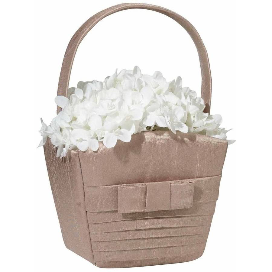 Lillian Rose Taupe Pleated Silk Flower Girl Basket