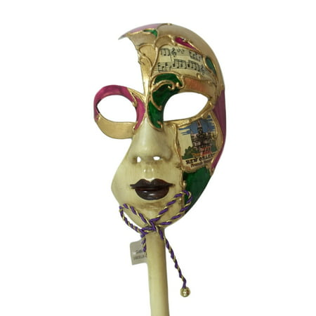 New Orleans French Quarter Venetian Stick Mask Ladies (Nueva Orleans Halloween)