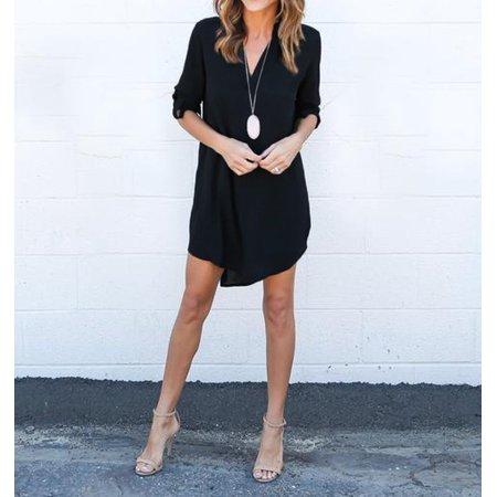 DYMADE Women's Casual V Neck Long Sleeve Roll Up Chiffon Dress Blouse Top Shirts