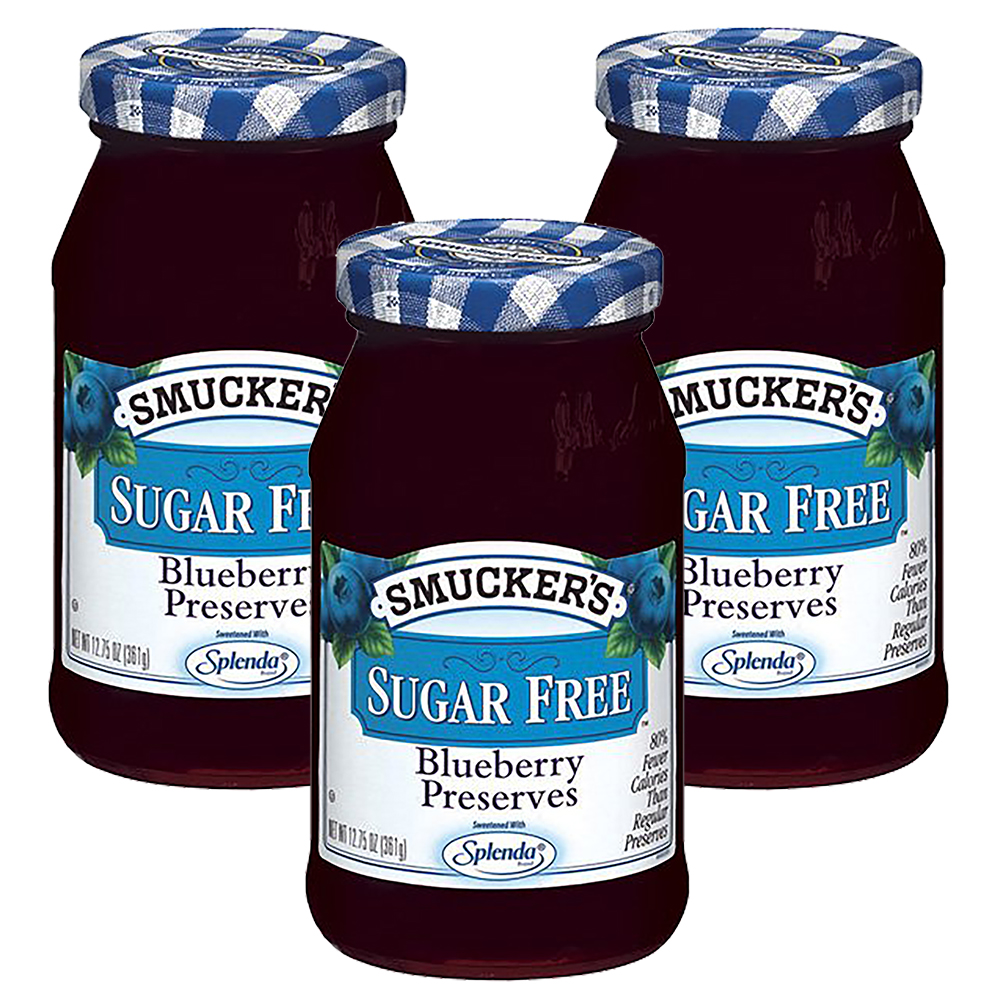 (3 Pack) Smucker's: Blueberry Sugar Free Preserves, 12.75 oz