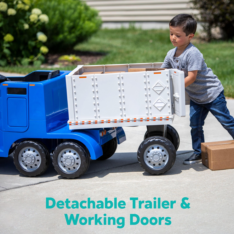 Semi Truck And Trailer Ride On Toy By Kid Trax Blue Rig Walmart Com Walmart Com