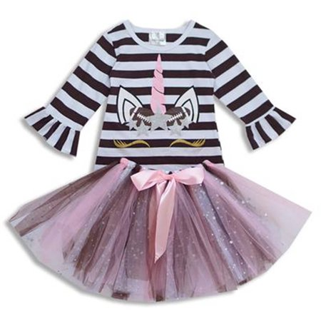 Toddler Girls 2 Pieces Dress Unicorn Baseball Stripe Glitter Tutu Tulle Party Dress Brown 2T XS (P201717P)](Baseball Dress)