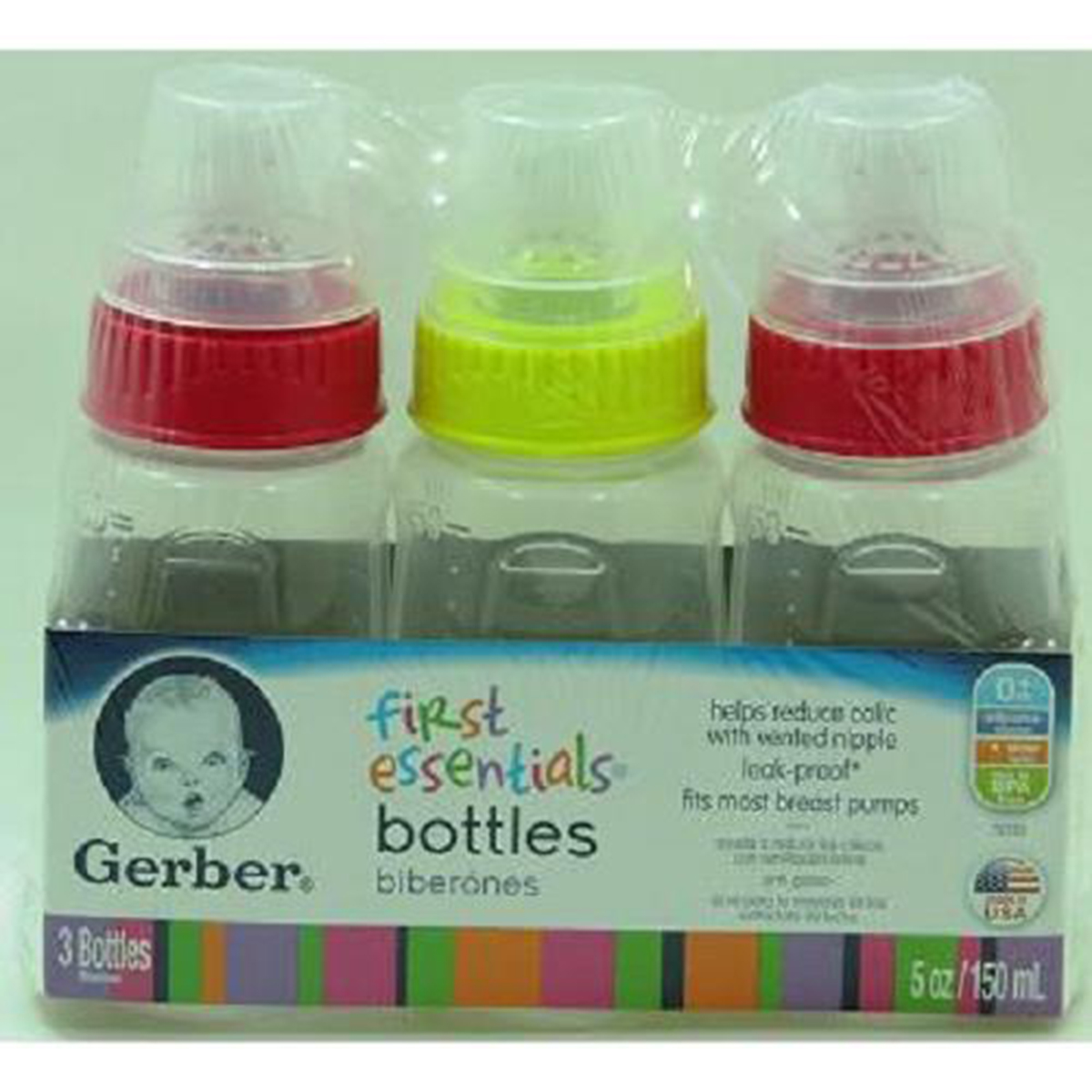 Product Of Gerber, Feeding Bottle With Latex Nipple (Clear), Count 1 (5 oz) - Baby Care Accessories / Grab Varieties & Flavors