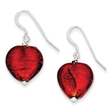 Murano Designer Earrings (Sterling Silver Dangle Shepherd hook Red Murano Glass Heart)