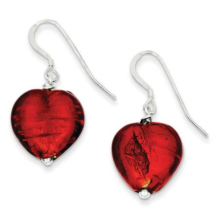 925 Sterling Silver Dangle Shepherd hook Red Murano Glass Heart Earrings Gifts for Women