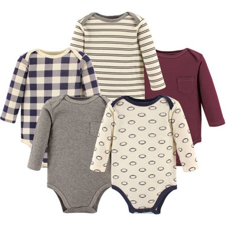 Hudson Baby Boy Long Sleeve Cotton Bodysuits 5-Pack