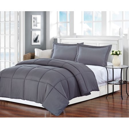 Grey Polyester Medium Warmth Queen Down Alternative Comforter Duvet insert , 88