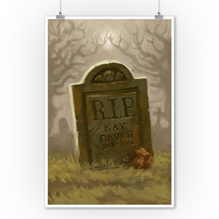 Halloween Headstone Sayings (Headstone - Halloween Oil Painting - Lantern Press Artwork (9x12 Art Print, Wall Decor Travel)