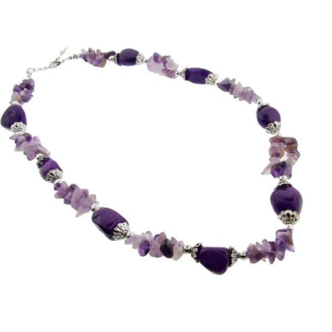 Bulk Buys Genuine Semi-Precious Stone Necklace-Amethyst - Pack of 3