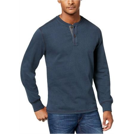 G.H. Bass & Co. Mens Carbon Plaited Jersey Henley Shirt
