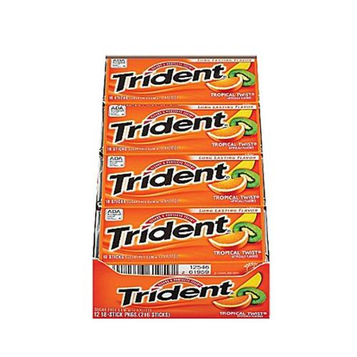 Trident Sugar Free Gum Tropical Twist 12 pack (18 ct per pack) (Pack of 3)