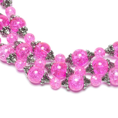 Glass and Metal Crackle Beads, Pink