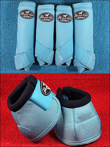 TURQUOISE LRG PROFESSIONAL CHOICE SPORTS MEDICINE HORSE BOOTS BELL VENTECH ELITE by