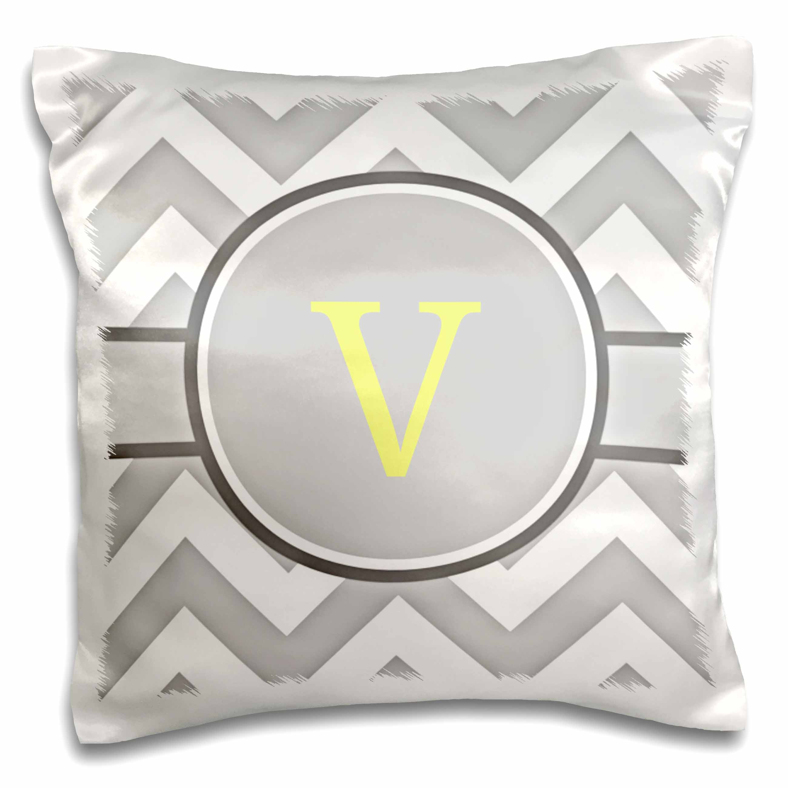 3dRose Grey and white chevron with yellow monogram initial V, Pillow Case, 16 by 16-inch