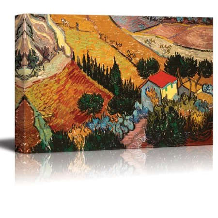 wall26 Valley with Ploughman Seen from Above by Vincent van Gogh - Canvas Print Wall Art Famous Painting Reproduction - 16