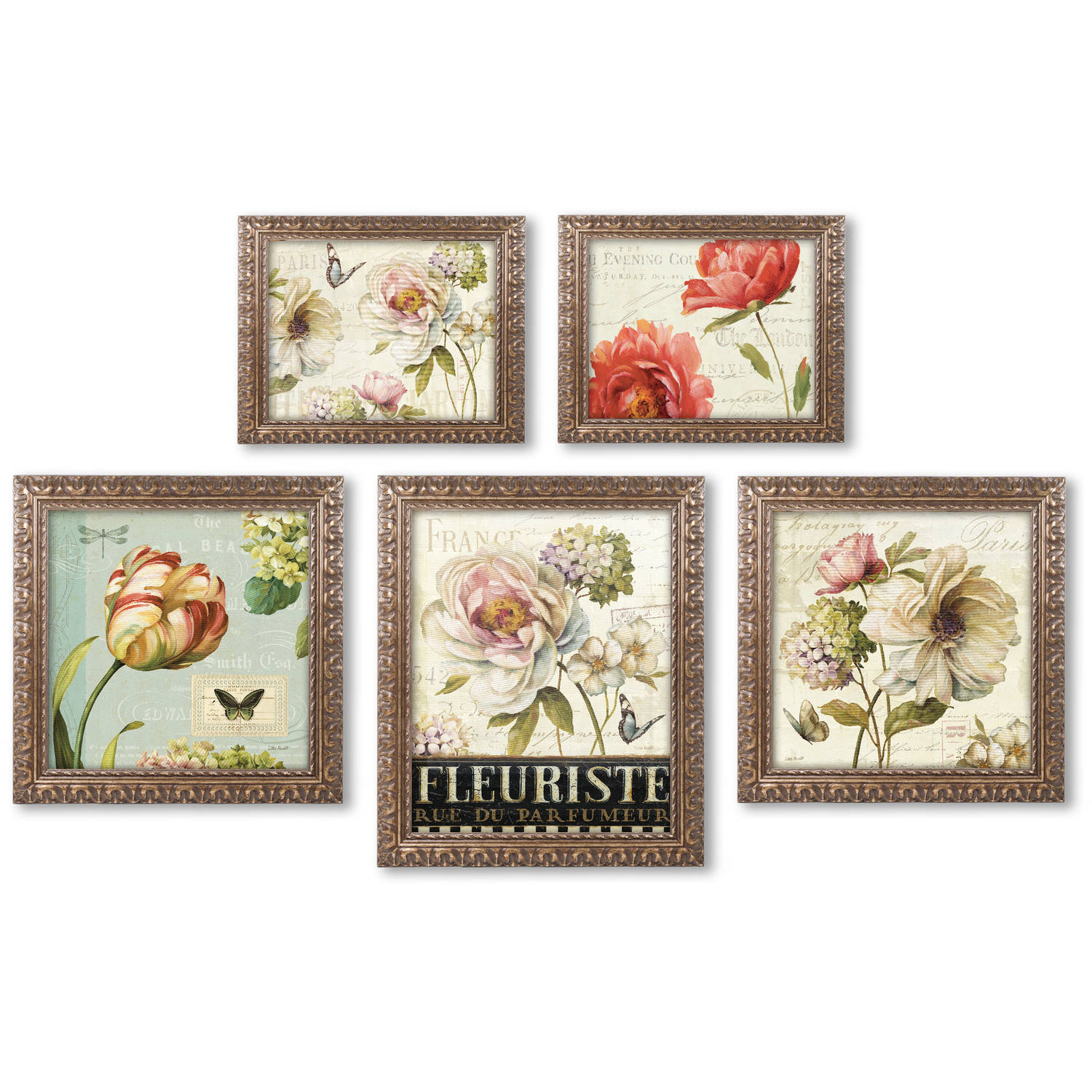 "Trademark Fine Art ""Lisa Audit Floral Wall Collection 5 Panel Set"" Framed Canvas Art"