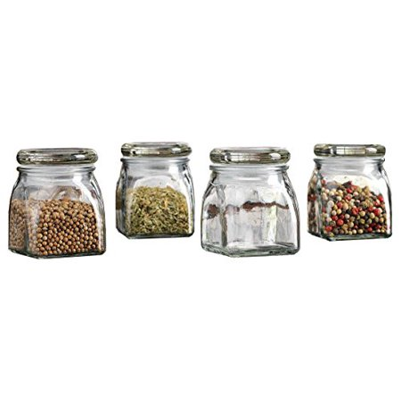 Palais Glassware 3 Ounce Clear Glass Spice Jar with Glass Lid - Contemporary Square Finish (Set of 4) - Led Glassware