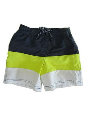 9dd32f814e1aa Product Image Jake Austin Boys Navy Blue Yellow White Stripe Swimwear Shorts