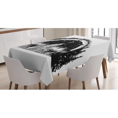 Northwood Carnival Glass Patterns - Northwoods Tablecloth, Mountain and Monochrome Forest Pattern with Compass Frame Design Outdoors, Rectangular Table Cover for Dining Room Kitchen, 60 X 90 Inches, Black Coconut, by Ambesonne
