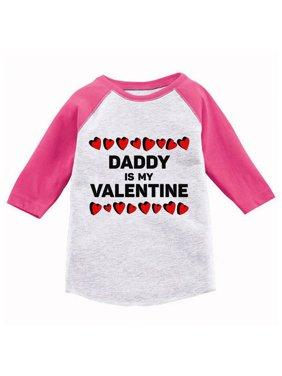 Awkward Styles Daddy Is My Valentine Youth Raglan Shirt Valentine Jersey Shirt Dad Daughter Gifts Valentine Day Shirt Cute Gifts for Girls Dad Valentine's Day Tshirt Kids Fun Princess Daddy