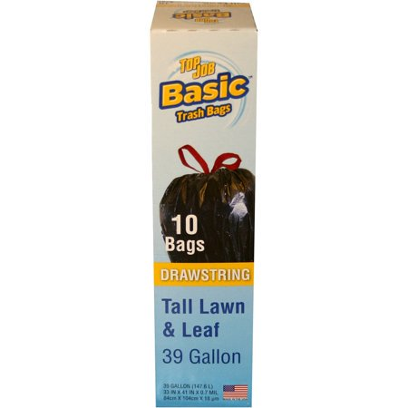 (Pack of 2) Top Job Basic Drawstring Tall Lawn & Leaf Bags, 39 Gallon, 10 Count