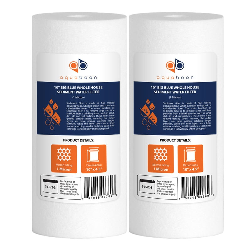 "2-PACK of Aquaboon Sediment Water Filter Whole House Big Blue 1 Micron 10""x4.5"""
