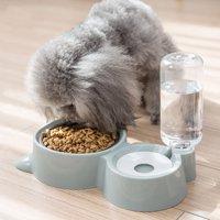 Bluelans Pet Dog Cat Auto Double Water Bowl Dispenser Food Drinking Feeder Storage Dish