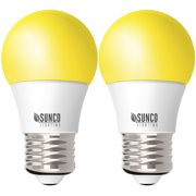 Sunco Lighting 2 Pack A15 LED Bulb,Yellow Bug Light, 8W, Dimmable, Bug Repellent/Bug Free, 2000K Amber Glow, Ideal for Outdoor Patio, Deck, Backyard, Porch, String Lights