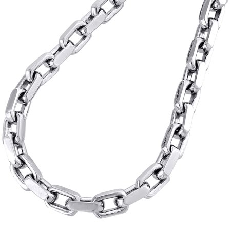 14K White Gold Solid Handmade Rectangle Square Link Chain 5.75mm Necklace 24