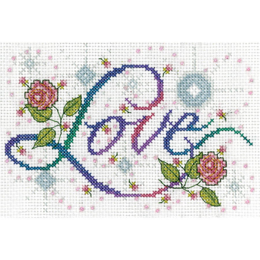 "Love Counted Cross Stitch Kit, 5"" x 7"", 14-Count"