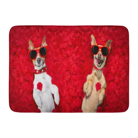 GODPOK Adorable Podenco Dog Resting in of Rose Petals for Valentines Day Happy with Funny Red Sunglasses Animal Rug Doormat Bath Mat 23.6x15.7 inch ()