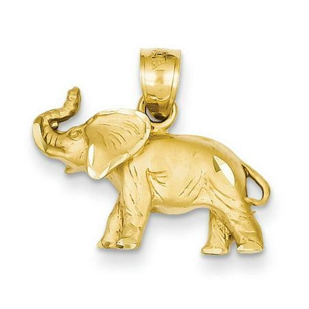 14k Yellow Gold D/C Elephant - 14kt Gold Elephant Head Charm