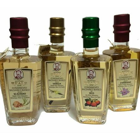Acetaia Reale Shallot 4 Year Aged White Balsamic Vinegar - 8.5 fl oz (250mL) Italian Acetified White Grape Must Vinegar and