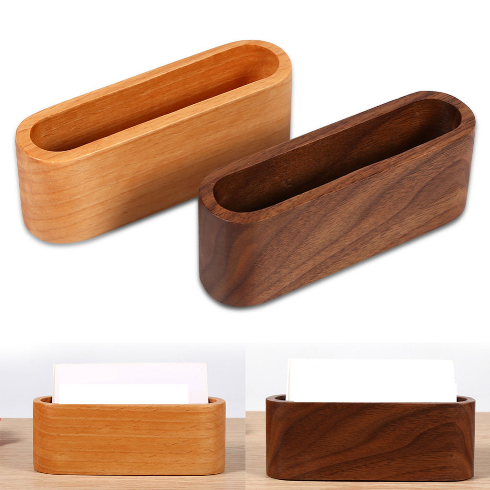 Directer Wooden Storage Box Organizer Durable Business ID Name Card Cover Case Holder