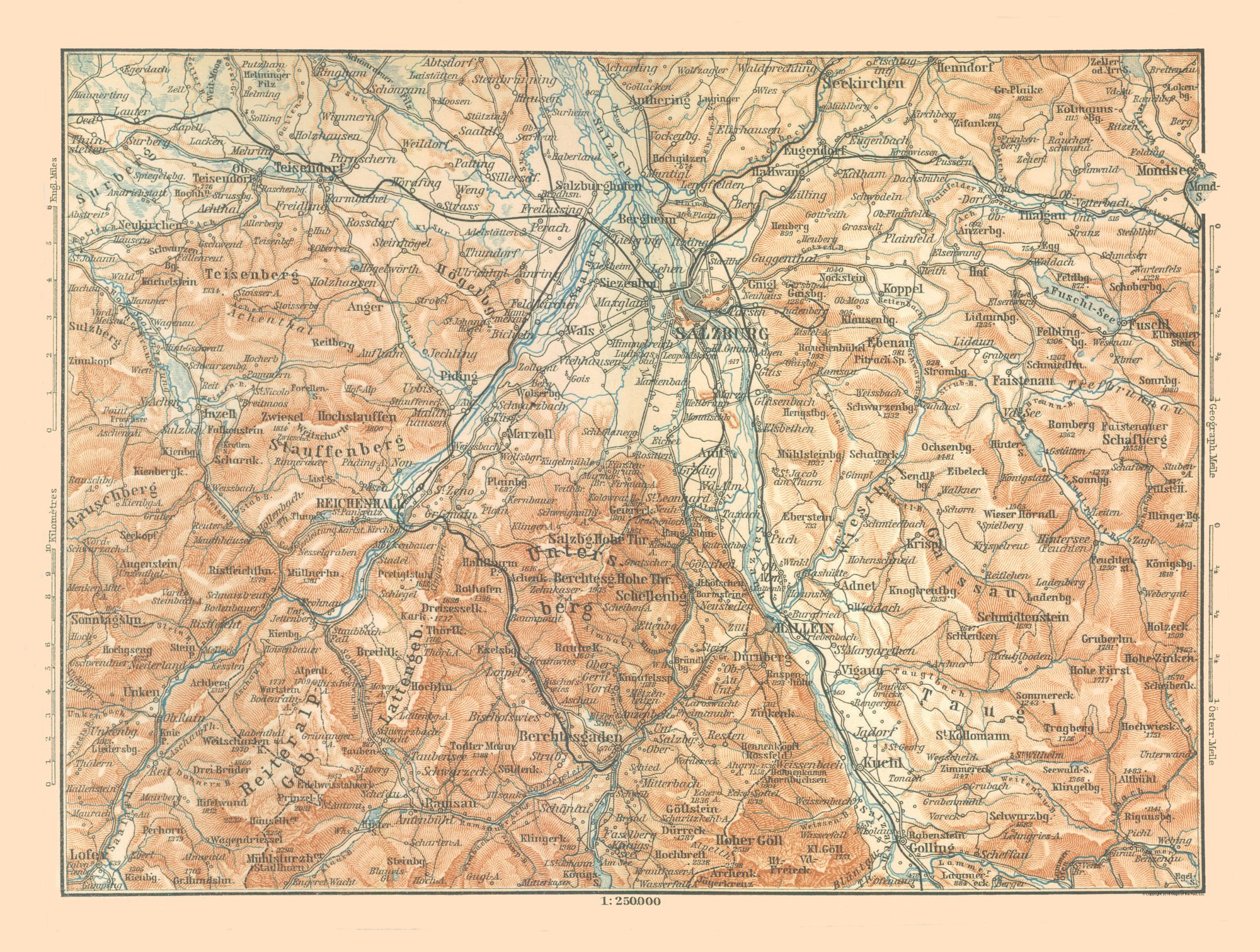 Map Of Germany Mountains.International Map Mountains Austria Germany Baedeker 1896 30 43 X 23